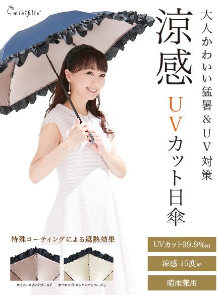 写真:mikifille 白川みきのおリボンUVカット涼感折りたたみ日傘